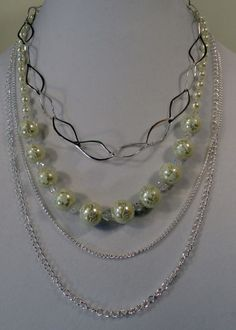 Silver Chain Bride Necklace with Cream Glass Pearls and Clear Crystal Beads. $30.00, via Etsy.
