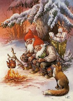 Gnomes a fox fire and tea, can i have a cup please Vintage Christmas Cards, Christmas Pictures, Vintage Cards, Vintage Postcards, Christmas Postcards, Illustration Noel, Christmas Illustration, Illustrations, Christmas Gnome