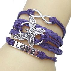 JQUEEN Butterfly Love Infinity Leather Rope Vintage Silver Plated Wrap Charm Link Bracelet Bangle - CHECK IT OUT @ http://www.finejewelry4u.com/jew/103299/150720