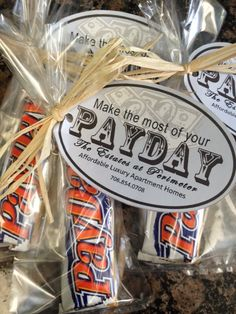 Apartment Marketing - Payday bars to go out to all of the tax return offices. Email Ashley for this template! Real Estate Marketing, Business Marketing, Marketing Ideas, Business Cards, Payday Bars, Payday Candy, Mortgage Humor, Mortgage Tips, Mortgage Payment