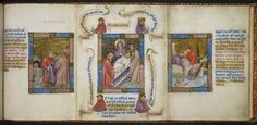 Miniature of Joseph's brothers deceiving Jacob about what happened to Joseph; miniature of the Deposition of Christ in the tomb; miniature o...