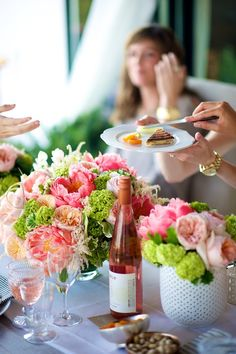 centerpieces with green, pink, and peach. via cocokelley. #flowers #bouquet #centerpieces
