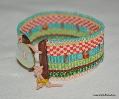 Hand loomed beaded bracelet with turquoise by RoseArtCrafts, $62.00