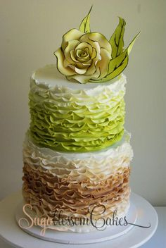 Toffee & Green Ombre Frilled Wedding Cake