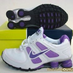 White and Purple Nike Shox