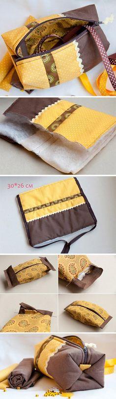"Cosmetics Bag / Pouch ""Coquette"". DIY Tutorial with Photos.   http://www.handmadiya.com/2015/12/cosmetics-pouch-coquette-tutorial.html"