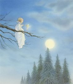 Illustration by Asako Eguchi Fairy Land, Fairy Tales, Tres Belle Photo, Anne Geddes, Moon Art, Children's Book Illustration, Moon Child, Full Moon, Fantasy Art