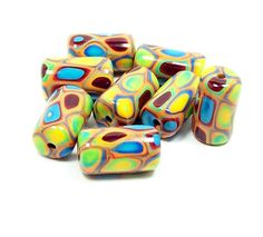 Tube Beads  Handmade from Polymer Clay  Klimt by BarbiesBest