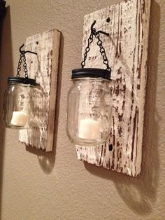 I purchased mason jars with candles in them months ago and now I have the exact idea of what to do with them! I purchased mason jars with candles in them months ago and now I have the exact idea of what to do with them! Jar Lamp, Wood Diy, Mason Jar Candles, Barn Wood Projects, Candle Jars, Mason Jar Candle Holders, Mason Jar Lamp, Diy Pallet Projects, Mason Jars