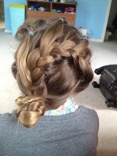 Five cornrows to a French braid headband, braid all hair, than put in a side bun.