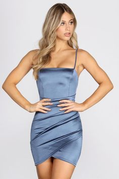 Wrapped In Stylish Satin Mini Dress – Windsor Dresses For Big Bust, Homecoming Dresses Tight, Tight Dresses, Dance Dresses, Satin Dresses, Pretty Dresses, Formal Dresses, Mini Dress Formal, Marine Uniform