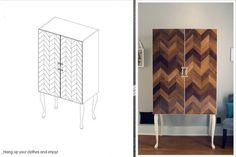 Love this upcycled herringbone cabinet (with step by step instructions).