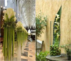 composition florale originale pour décorer l'intérieur de l'église et la table des mariés : callas blancs