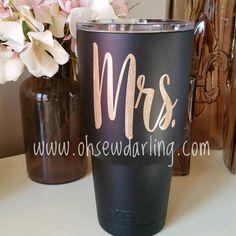 Bride Mrs Wedding YETI Rambler 20oz or 30oz by ItsOhSewDarling