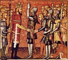Cavalieri cattolici che si accingono ad andare a combattere, in atto di giurare fedeltà al sovrano e di ricevere le armi