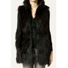 Trendy Stand Collar Black Slimming Faux Fur Waistcoat For Women (110 PLN) found on Polyvore