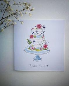 Items similar to Hand Painted - Priodas Hapus - Wedding Card on Etsy Watercolor Wedding Cake, Watercolor Cards, Floral Watercolor, Painted Wedding Cake, Wedding Cards Handmade, Christmas Tree Painting, Paint Cards, Christmas Photo Cards, Cool Cards