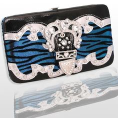 Western CowGirl Women Frame Wallet Rhinestone Belt Buckle Zebra Metallic Blue