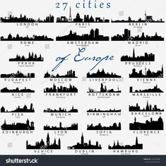 Set of Detailed vector silhouettes of European cities