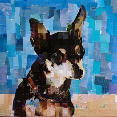 "Chihuahua. collage on canvas 2014. 20 x 20"" mydogcollage.com"