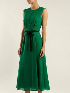 Sleeveless Midi Dress With Wide Belt Cefinn uhmda3B