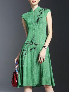 Green Viscose Sleeveless Midi Dress