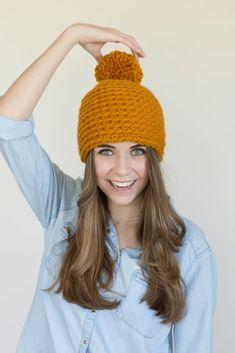 b58c7aee786 Toffee Apple Pompom Beanie - Free Crochet Pattern by Hopeful Honey Hopeful  Honey