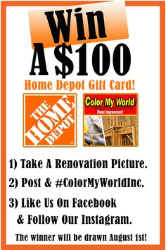 🚧 We are giving away a FREE $100 Home Depot Gift Card.  🚧 Remember - You must like or follow our Facebook or Instagram page to win!  #GeneralContractor #RenovationCompany #WinAGiftCard #HomeDepot