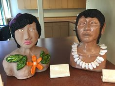 Heads in clay by Bill and Terry Fisher in sculpture Class at The Highlands at Dove Mountain 2016