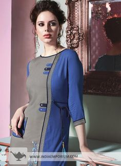 India Emporium is a one stop ethnic wear online store for all your online saree shopping, designer wear, salwar kameez, bridal wear, lehenga cholis & artificial jewellery needs. Kurti Patterns, Dress Patterns, Kurta Designs, Blouse Designs, Dress Brokat Muslim, Embroidered Kurti, Neck Designs For Suits, Fashion Corner, Mode Hijab