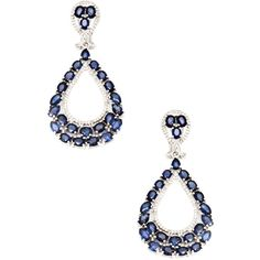 Lori Kassin Jewelry Women's 14K White Gold, Diamond & Sapphire Drop... ($1,917) ❤ liked on Polyvore featuring jewelry, earrings, no color, sapphire drop earrings, diamond earrings, drop earrings, diamond accent earrings and long drop earrings