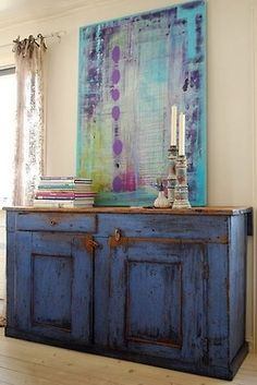 Love this blue cabinet!