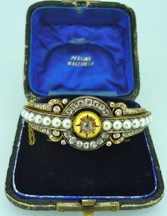 Russian Pearl and Diamond Bangle 1895