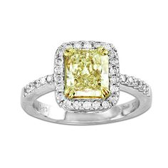2-1/4 CT. T.W. Radiant-Cut Enhanced Yellow and White Diamond Engagement Ring in 18K Two-Tone Gold - View All Rings - Zales