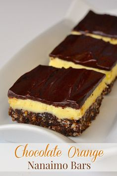 Chocolate Orange Nanaimo Bars - a new recipe with a twist on the classic Canadian treat, the Nanaimo bar. Here the sweet center gets infused with tangy orange flavor.