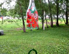 Wine Bottle Wind Chime, Recycled ClearWine Bottle, Hand Painted Shades of Orange Flowers, Garden Decoration