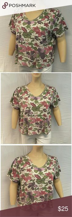 *PLUS* Floral Top, size 22W / 24W *PLUS* Pinks Greens Purples Floral Top, size 22W / 24W, checked box 22W below, crochet lace trim collar, boxy fit, stretchy rib-knit material, machine washable, 100% cotton, approximate measurements: size 22W / 24W . ADD TO A BUNDLE! 30% Automatically Discounted on all Bundles! Tops Blouses