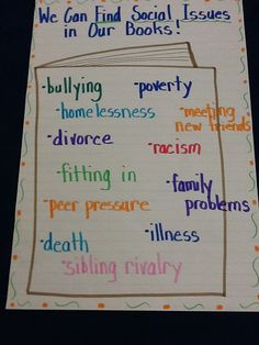 Possible social issues for book clubs