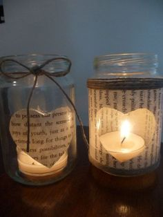 Glass Jar of Hearts Collection Tea light by mishmashartsncrafts, $6.00: