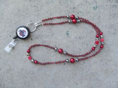 Ohio State Beaded Lanyard Scarlet Red and by TheLanyardNecklace, $27.00