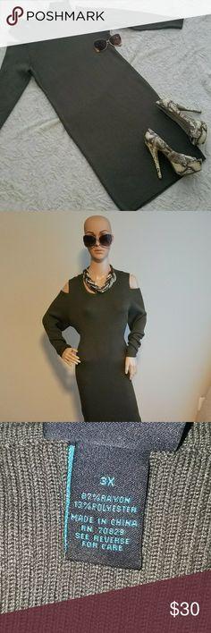 Cold shoulder ribbed dress Cold shoulder dress Ribbed Olive green 3x Dresses