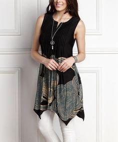 Look at this #zulilyfind! Black Abstract Notch Neck Sleeveless Handkerchief Tunic - Plus #zulilyfinds