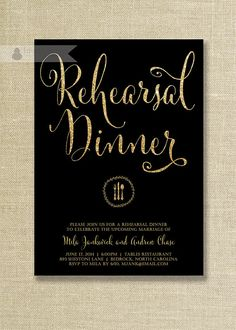 Black & Gold Glitter Rehearsal Dinner Invitation Wedding Rehearsal Script Modern FREE PRIORITY SHIPPING or DiY Printable - Mila style available at digibuddha.com