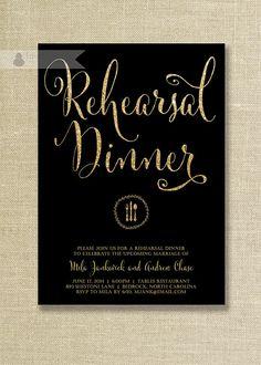 Black & Gold Glitter Rehearsal Dinner Invitation Wedding Rehearsal Script Modern FREE PRIORITY SHIPPING or DiY Printable - Mila