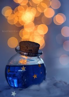 Starry night by *lieveheersbeestje Magic Bottles, Bokeh Photography, Amazing Photography, Potion Bottle, Believe In Magic, Stars And Moon, Gold Stars, Message In A Bottle, Belle Photo