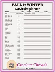 Back to School FREE Wardrobe Planner Printable from Gracious Threads! Print a checklist to get your kids' clothes ready for next season. Boy and Girl versions!