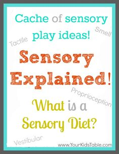 Sensory processing/integration explained in easy to understand language.  And, understanding a sensory diet.  Lot of sensory play ideas!