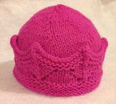 This is a modified pattern from Kathryn Andrews Elegant Knit Crown (available at http://www.ravelry.com/patterns/library/elegant-knit-crown). I made it into a hat and changed a few areas that weren't clear to me. The original crown has different sizes, but since I just made a hat for a newborn that is what I have here.