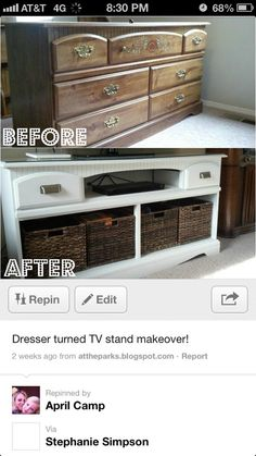 turn a dresser into a tv stand