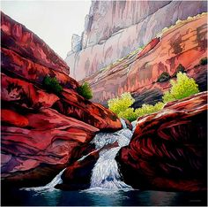 Gratitude - Jonathan Frank -  Watercolor Landscapes This reminds me of the red rock in Glacier National Park, may be the falls there.  Beautiful!